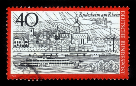 GERMANY - CIRCA 1973  a stamp printed in the Germany shows View of Rudesheim am Rhein, Germany, circa 1973 Stock Photo - 16127281