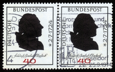 GERMANY - CIRCA 1974  a stamp printed in Germany  shows portrait of Friedrich Gottlieb Klopstock , German poet , circa 1974 Stock Photo - 16127284