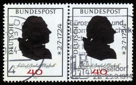 GERMANY - CIRCA 1974  a stamp printed in Germany  shows portrait of Friedrich Gottlieb Klopstock , German poet , circa 1974 Stock Photo - 16127284