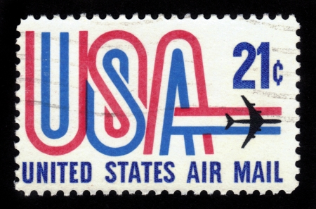 USA - CIRCA 1968  A Stamp printed in USA shows the USA inscription and Jet, symbols of American airmail , circa 1968 Stock Photo - 16126277