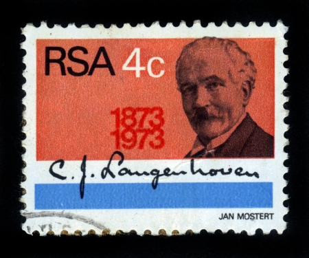 anthem: SOUTH AFRICA - CIRCA 1973  A stamp printed by South Africa, shows portrait of  Cornelis Jacobus Langenhoven ,  He is to have written the words for the original South African Anthem Die Stem  The Call   , circa 1973 Editorial