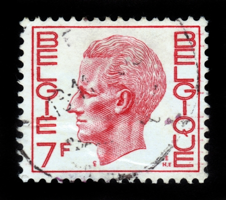 BELGIUM - CIRCA 1971  A Stamp printed in BELGIUM shows the portrait of a Baudouin I  1930-1993  reigned as King of the Belgians, red , series, circa 1971 Stock Photo - 16127259