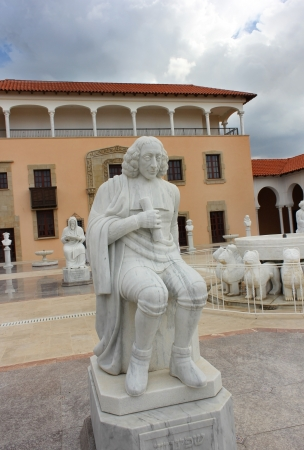 sephardic: monument of Baruch Spinoza , Jewish-Dutch philosopher , at the entrance to the Museum Rally  Caesarea , Israel