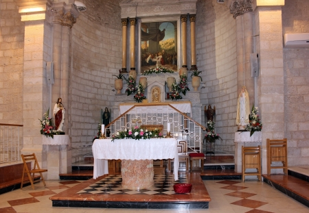 first miracle: altar in the church of the first miracle, Cana of Galilee, Israel