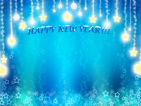 happy New Year background in blue tones with stars Stock Photo - 16126391