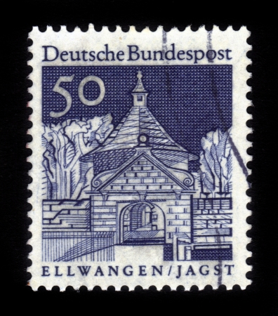 GERMANY - CIRCA 1966  A stamp printed in Germany  shows Castle Gate, Ellwangen,   Historic Buildings  seria , circa 1966  Stock Photo - 16127289
