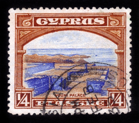 kypros: CYPRUS - 1938: A stamp printed in Cyprus shows Vouni palace , Near Lefke, North Cyprus , 1938 Editorial