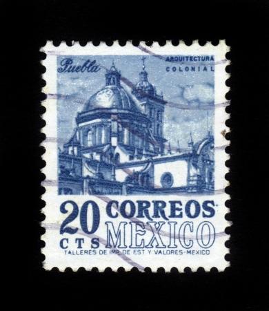 MEXICO - CIRCA 1960  stamp printed by Mexico, shows Puebla Cathedral, circa 1960 Stock Photo - 16233014