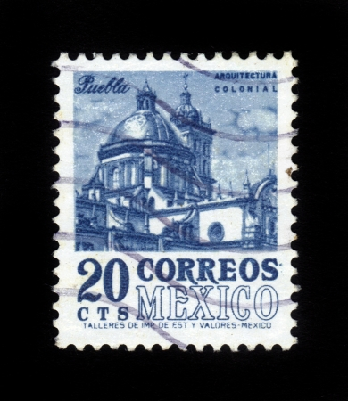 MEXICO - CIRCA 1960  stamp printed by Mexico, shows Puebla Cathedral, circa 1960 Stock Photo - 16233014