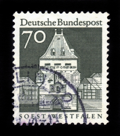 GERMANY - CIRCA 1966  A stamp printed in Germany from the  Historic Buildings  issue shows Osthofen Gate, Soest, North Rhine-Westphalia, Germany , circa 1966  Stock Photo - 16233017