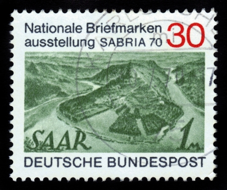 GERMANY - CIRCA 1970  A stamp printed in Germany shows landscape Saar, View of Saar River near Mettlach , circa 1970 Stock Photo - 16233019