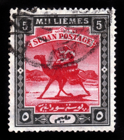 SUDAN - CIRCA 1898  A stamp printed in Sudan shows Arab postman, 5 millieme ,seria The Camel Post , circa 1898 Stock Photo - 16233022