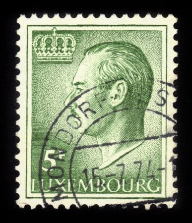 LUXEMBOURG - CIRCA 1965  a stamp printed in the Luxembourg shows Portrait of Grand Duke of Luxembourg Jean , ruled from 1964 to 2000, circa 1965 Stock Photo - 16233018
