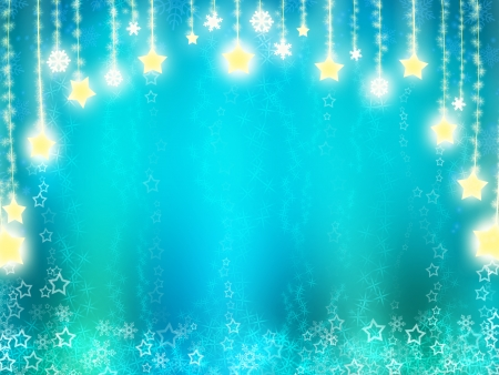 New Year background in turquoise tones with golden stars photo