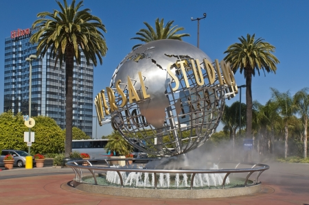 Los Angeles, California, USA - May 22, 2012 Globe monument at the entrance of Universal Studios  theme park , Hollywood Boulevard , Los Angeles , USA - May 22, 2012