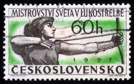 CZECHOSLOVAKIA - CIRCA 1957  A Stamp printed in Czechoslovakia shows World Cup archery, circa 1957