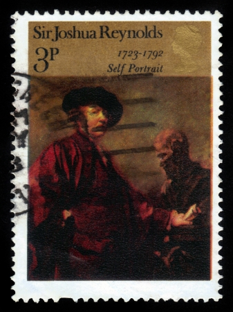 UNITED KINGDOM - CIRCA 1973  A stamp printed in Great Britain shows  Self  portrait  by Sir Joshua Reynolds,  1723 - 1792  , circa 1973 Stock Photo - 16233035