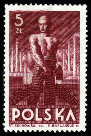 steelmaker: POLAND - CIRCA 1947  A stamp printed in Poland shows image of the laborer in heavy industry, holding a sledgehammer , series, circa 1947 Editorial