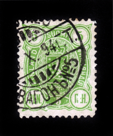 FINLAND - CIRCA 1892: stamp printed by Finland, shows Coat of arms of Finland, circa 1892 Stock Photo - 16348361