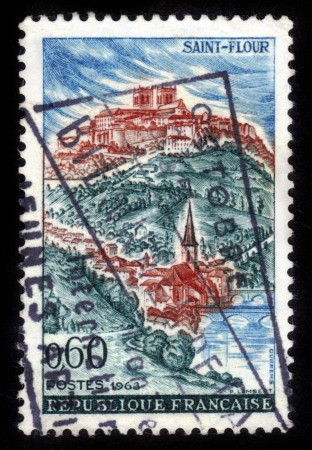 FRANCE - CIRCA 1963: A stamp printed in France shows Saint-Flour, Cantal, circa 1963 Stock Photo - 16348369