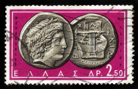 greek coins: GREECE - CIRCA 1959: A stamp printed in Greece from the Ancient Greek Coins issue shows a coin from Chalcidice, Macedonia 4th century B.C. (Apollo and lyre), circa 1959 Editorial