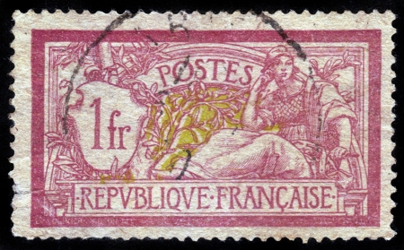 pensiveness: FRANCE - CIRCA 1910: stamp printed by France, shows Liberty and Peace allegory, circa 1910 Editorial
