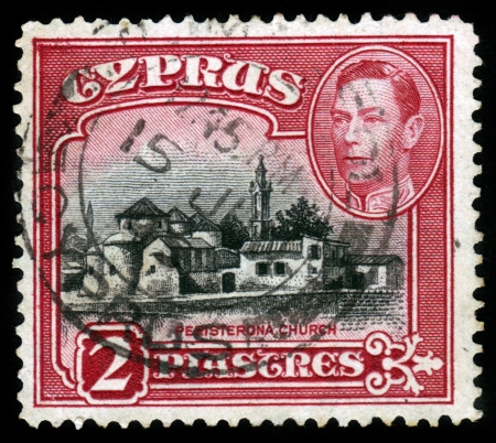 CYPRUS - 1938: A stamp printed in Cyprus shows Church of St. Barnabas and St. Hilarion, Peristerona, 1938 Stock Photo - 16348376