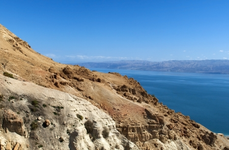 views of the Dead Sea from the Mount Masada, Israel Stock Photo - 16353119