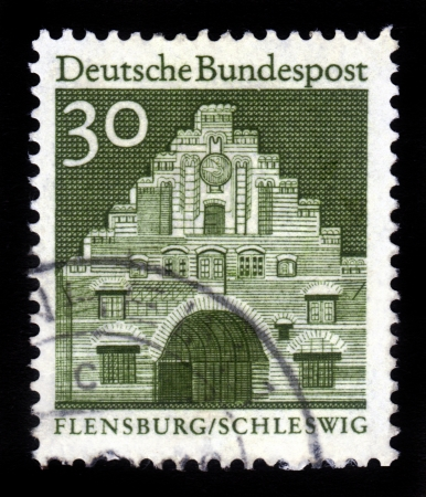 GERMANY - CIRCA 1966  A stamp printed in Germany from the  Historic Buildings  issue shows Nordertor, Flensburg, Schleswig, circa 1966 Stock Photo - 16348385