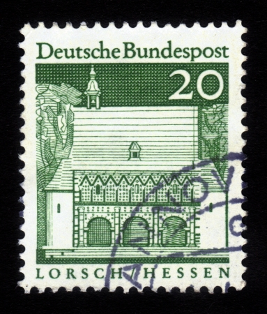 GERMANY - CIRCA 1967  a stamp printed in the Germany shows Portico, Abbey Lorsch , Hessen, circa 1967 Stock Photo - 16348386