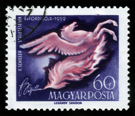 HUNGARY- CIRCA 1959  stamp printed by Hungary, shows Pegasus rearing from flames, circa 1959 Stock Photo - 16348390