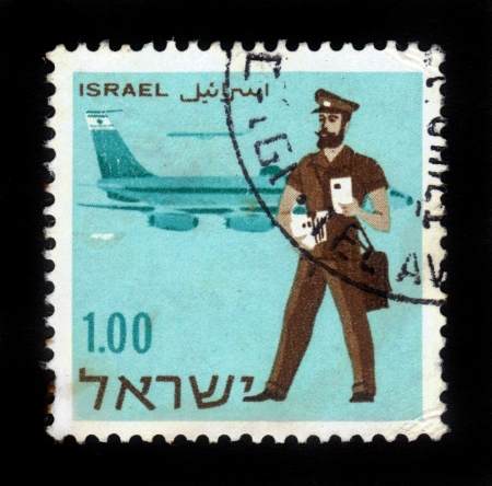 ISRAEL-CIRCA 1961 A stamp printed in Israel shows image of Israeli postman on the background  airplane , circa 1961