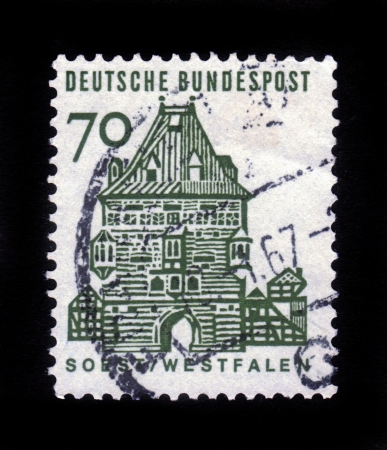 westfalen: GERMANY - CIRCA 1964  a stamp printed in the Germany shows Osthofen Gate, Soest, Westfalen, circa 1964 Editorial