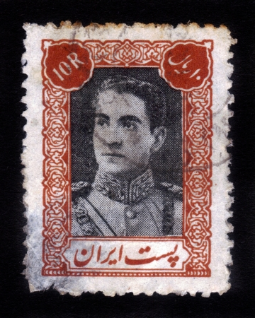 IRAN - CIRCA 1939  stamp printed in IRAN shows portrait of Mohammad Reza Shah Pahlavi, circa 1939 Stock Photo - 16348395