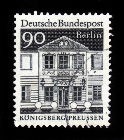 GERMANY - CIRCA 1966  A stamp printed in German Federal Republic from German  Buildings through 12th centuries  shows Zschocke Ladies Home, Konigsberg, Preussen, series , circa 1966  Stock Photo - 16532615