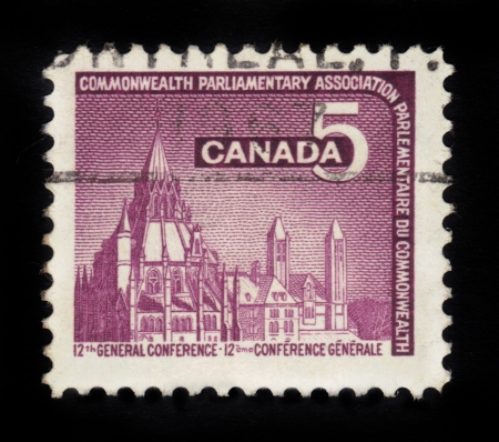 parliamentary: CANADA - CIRCA 1966  stamp printed by Canada, shows Parliamentary Library, Ottawa, devoted to the 12th General Conference of the Commonwealth Parliamentary Association , circa 1966 Editorial