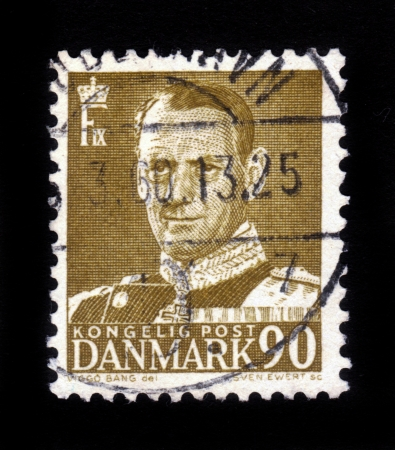 DENMARK-CIRCA 1959  A stamp printed in Denmark shows image of Frederick IX  Christian Frederik Franz Michael Carl Valdemar Georg , King of Denmark , circa 1959 Stock Photo - 16585809
