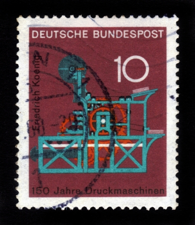 GERMANY - CIRCA 1968  a stamp printed in the Germany shows Koenig Printing Press, 150th anniversary of the Koenig printing press, circa 1968