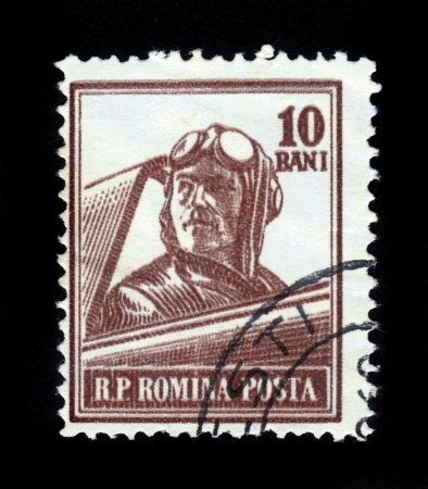 ROMANIA - CIRCA 1955  A stamp printed in Romania shows retro aviator, series, circa 1955 Stock Photo - 16585808