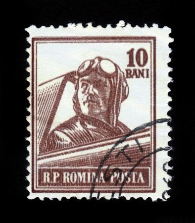 ROMANIA - CIRCA 1955  A stamp printed in Romania shows retro aviator, series, circa 1955 Stock Photo - 16585808
