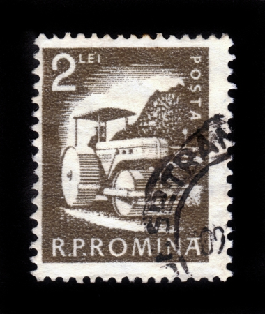 ROMANIA- CIRCA 1960  A stamp printed in Romania shows Road roller, series  Usual - economic activities , circa 1960 Stock Photo - 16591764