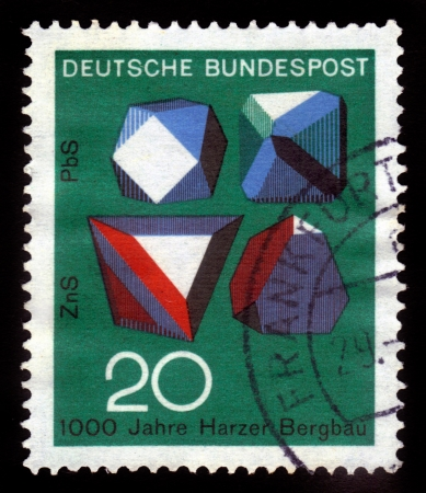 sphalerite: GERMANY- CIRCA 1968  stamp printed by Germany, shows Minerals Galena  Lead Sulfide - PbS  and Sphalerite  Zinc Sulfide, ZnS  crystals from Germany, circa 1968