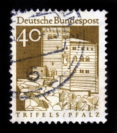 GERMANY - CIRCA 1967  A stamp printed in Germany from the  Historic Buildings  issue showing Trifels Fortress, Palatinate,   Pfalz   , circa 1967 Stock Photo - 16585811