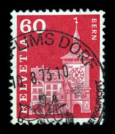 SWITZERLAND - CIRCA 1960  stamp printed by Switzerland, shows Clock Tower, Berne, circa 1960  Stock Photo - 16585816