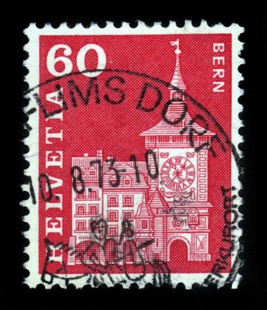 SWITZERLAND - CIRCA 1960  stamp printed by Switzerland, shows Clock Tower, Berne, circa 1960  Stock Photo - 16585816