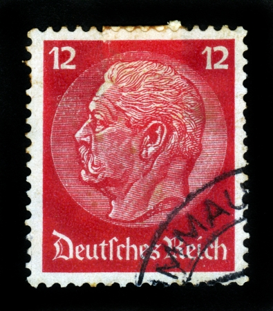 GERMANY - CIRCA 1934  A stamp printed in Germany shows image of Paul von Hindenburg, the 2nd President of Germany, series, circa 1934 Stock Photo - 16585810