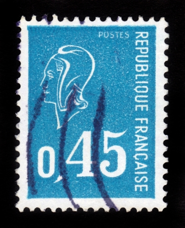FRANCE - CIRCA 1971  A stamp printed in France shows Marianne  by Bequet  - national emblem of France and an allegory of Liberty and Reason,  from series  ,Marianne , blue , circa 1971