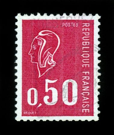 FRANCE - CIRCA 1971  A stamp printed in France shows Marianne  by Bequet  - national emblem of France and an allegory of Liberty and Reason,  from series  ,Marianne , red, circa 1971
