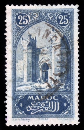 MOROCCO - CIRCA 1932  A stamp printed by Morocco, shows Porte de Chella, near Rabat , circa 1932 Stock Photo - 16585895