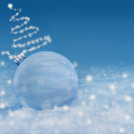 Elegant Christmas background with white snowflakes , Christmas toy and place for text Stock Photo - 16591285